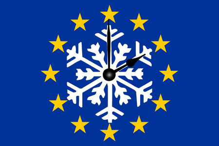 Europe Clock Change European Flag with Snowflake and Dial
