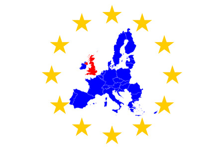 Brexit European Map with European Stars Circle