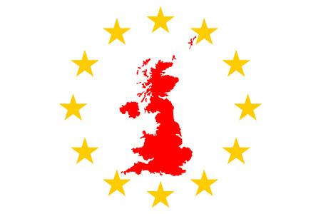 Brexit Grande-Bretagne Carte avec European Stars Circle