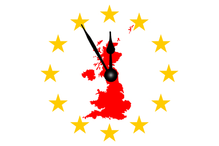 Brexit Great Britain Mapp with European Stars Circle and Clock Banco de Imagens
