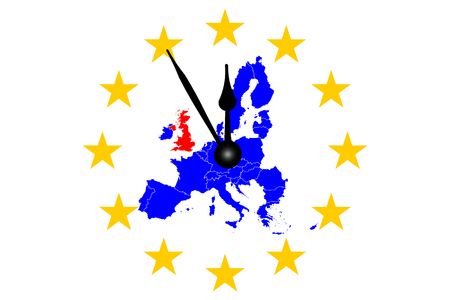 Brexit Great European Map with European Stars Circle and Clock