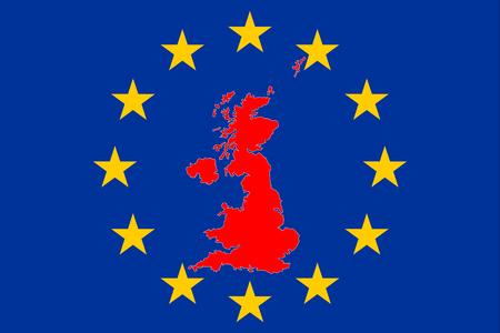 Mapa de Gran Bretaña Brexit con círculo de estrellas europeas