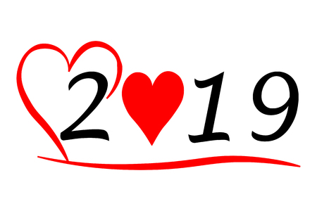 Year 2019 with Heart 写真素材