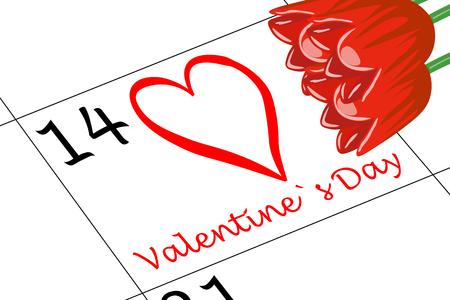 Valentine`s Day Calendar with Flowers Banco de Imagens