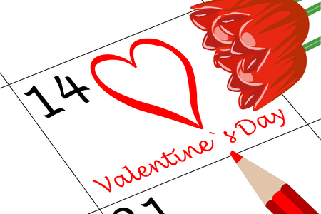 Valentine`s Day Calendar with Pen and Flowers Banco de Imagens