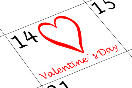 Valentine`s Day Calender with Heart and writing Banco de Imagens