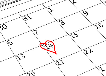 Valentine`s Day Calendar Sheet with Heart