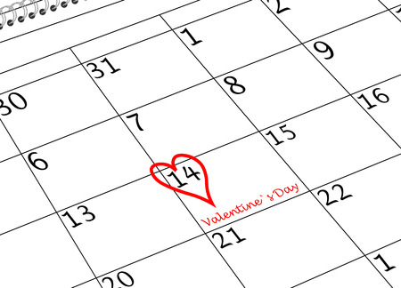 Valentine`s Day Calendar Sheet with Heart and writing
