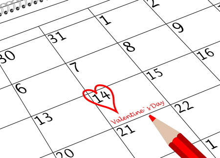 Valentine`s Day Calendar Sheet with Heart and Pen Banco de Imagens