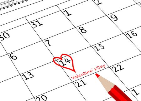 Valentine`s Day Calendar Sheet with Heart and Pen Reklamní fotografie