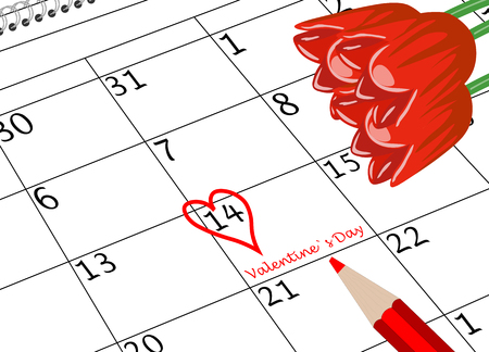 Valentine`s Day Calendar Sheet with Heart Pen and Flowers Banco de Imagens