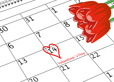 Valentine`s Day Calendar Sheet with Heart and Flowers Reklamní fotografie