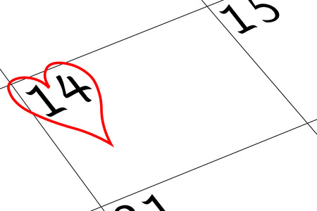 Valentine`s Day Calendar Day with Heart