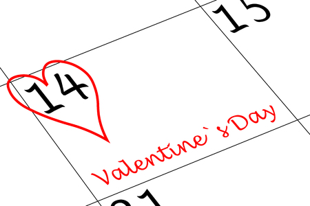 Valentine`s Day Calendar Day with Heart and writing