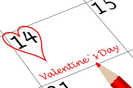Valentine`s Day Calendar Day with Heart Pen and writing