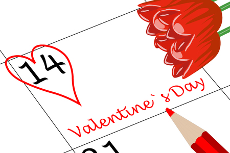 Valentine`s Day Calendar Day with Heart Flowers and Pen