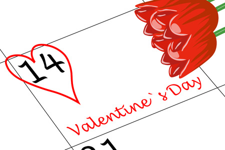 Valentine`s Day Calendar Day with Heart and Flowers