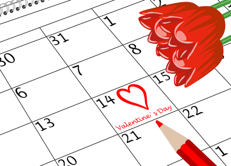 Valentine`s Day Calendar Page with Heart Flowers and Pen