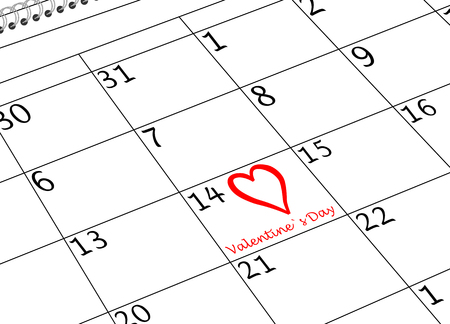 Valentine`s Day Calendar Page with Heart and writing