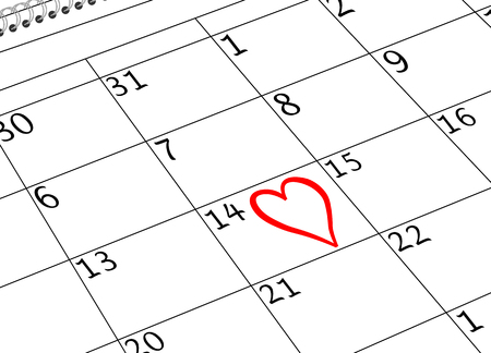Valentine`s Day Calendar Page with Heart