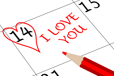 Valentine`s Day I love You with Heart and Pen