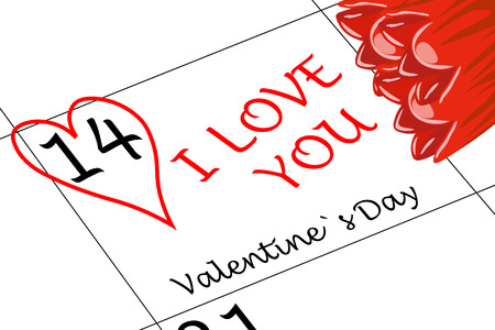 Valentine`s Day I love You with Heart and Flowers