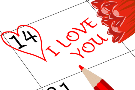 Valentine`s Day I love You with Flowers and Pencil Banco de Imagens