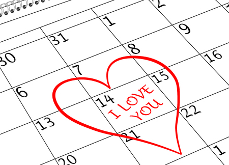 Valentine`s Day I love You Calendar Page with Heart Banco de Imagens