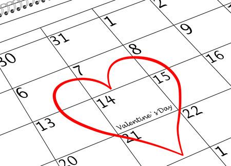 Valentine`s Day I love You Calendar Page with Heart Reklamní fotografie