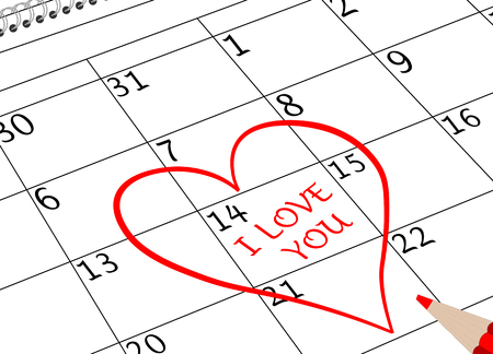 Valentine`s Day I love You Calendar Page with Heart and Pencil Banco de Imagens