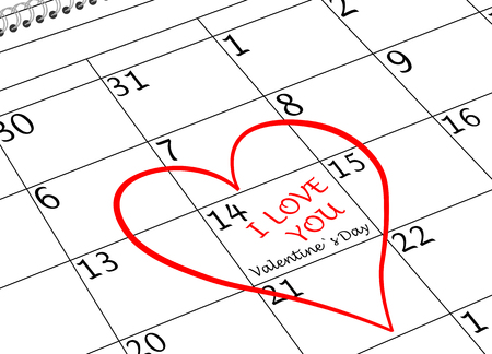 Valentine`s Day I love You Calendar Page with Heart and writing Banco de Imagens