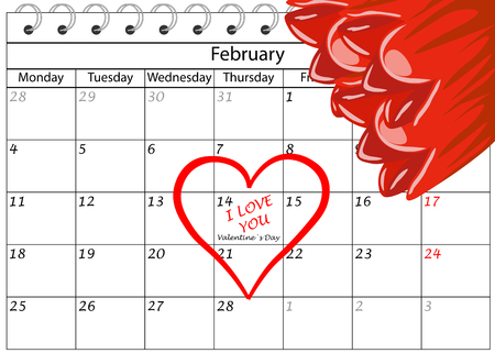 Valentine`s Day Calendar with Heart and Flowers