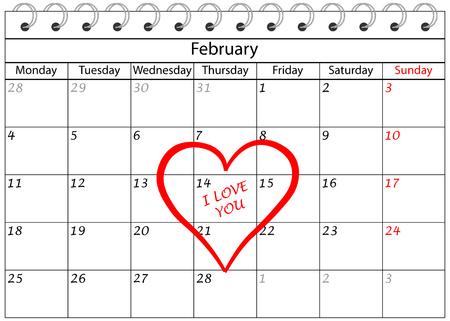 Valentine`s Day Calendar I love You with Heart Frame Banco de Imagens