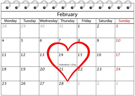 Valentine`s Day Calendar with Heart Frame