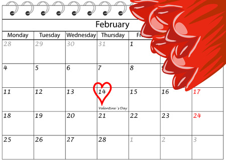 Valentine`s Day Calendar Heart writing with flowers