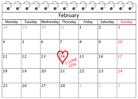 Valentine`s Day Calendar I love You with Heart Frame Reklamní fotografie
