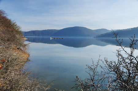 Berich at the Edersee at winter time at full filling Banco de Imagens