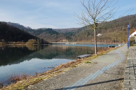 Edersee near Herzhausen in Winter time at full filling