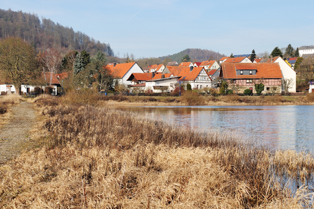 Herzhausen at the Edersee in Winter time at full filling