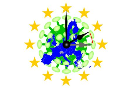 COVID-19 Virus Map from Europe with Clock running