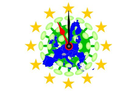 COVID-19 Virus and Map from Europe with Clock