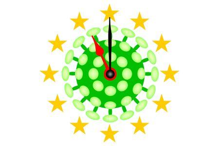 COVID-19 Virus Europe pandemic with Clock Banco de Imagens