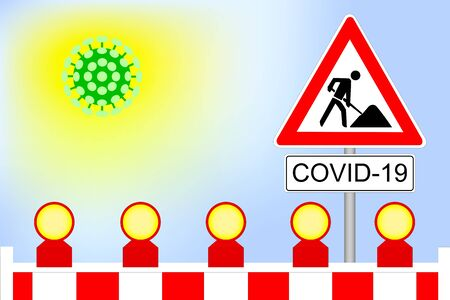 Virus cell lockdown barrier with construction sign