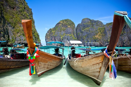 Longue queue bateau en Thaïlande Banque d'images