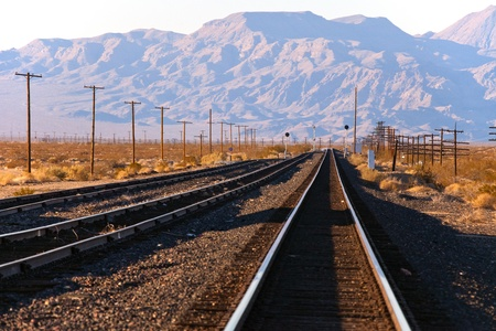 creosote: Railroad in Baker Ivanpah Vally California