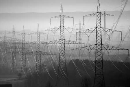 electricity tariff: Power Lines in Germany Stock Photo