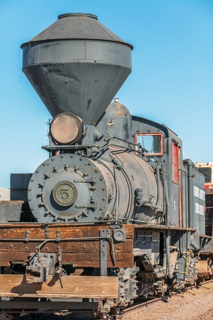 goods train: Steam Locomotive in USA Stock Photo