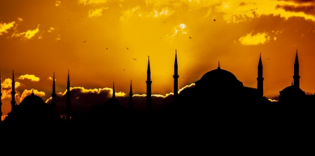 prayer tower: Mosque in Istanbul Turkey Stock Photo