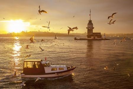 marmara: Istanbul Maiden Tower Turkey Stock Photo