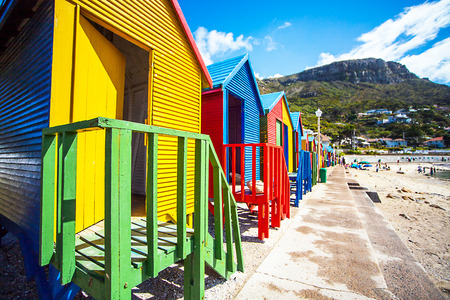 Beach huts in St. James South Africa Stock fotó